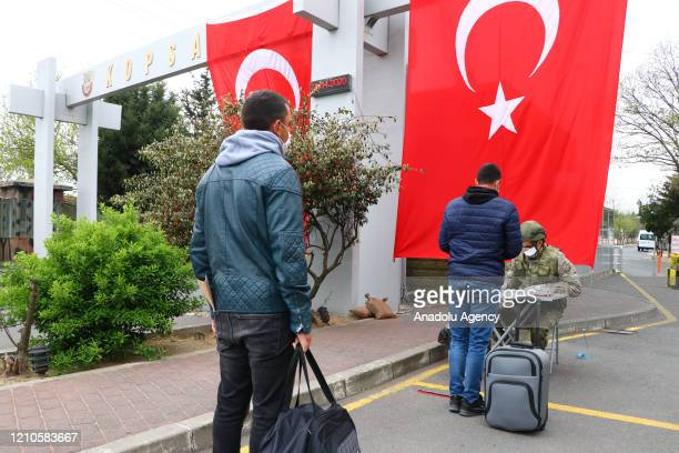 Turkish soldiers are being checked upon their arrival to units within precautions against coronavirus pandemic at 66th Mechanised Infantry Brigade...