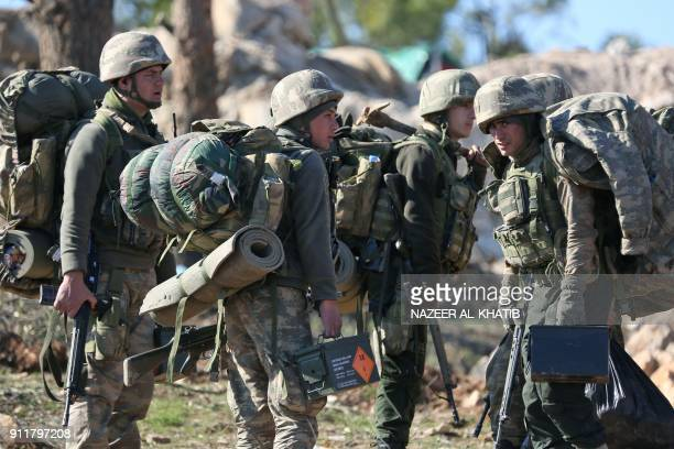Turkish soldiers are deployed on Mount Bersaya north of the Syrian town of Azaz near the border with Turkey on January 29 2018 Turkey launched...