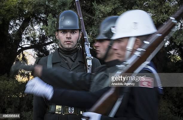Turkish soldiers are seen at Anitkabir mausoleum of Mustafa Kemal Ataturk who is the founder of the Turkish Republic a day before the 77th...