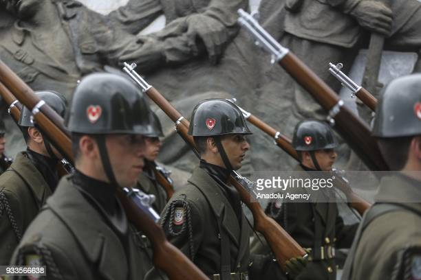 Turkish soldiers are seen during a ceremony at Canakkale Martyrs' Memorial in Gallipoli Peninsula to mark the 103rd anniversary of the Canakkale Land...