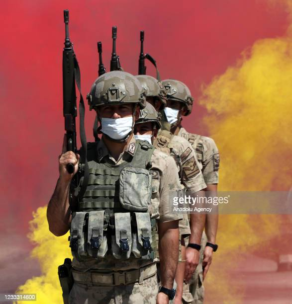 Turkish soldiers are seen during the farewell ceremony ahead of going for their duty in Jarabulus district of Syria, which was cleared from Daesh...