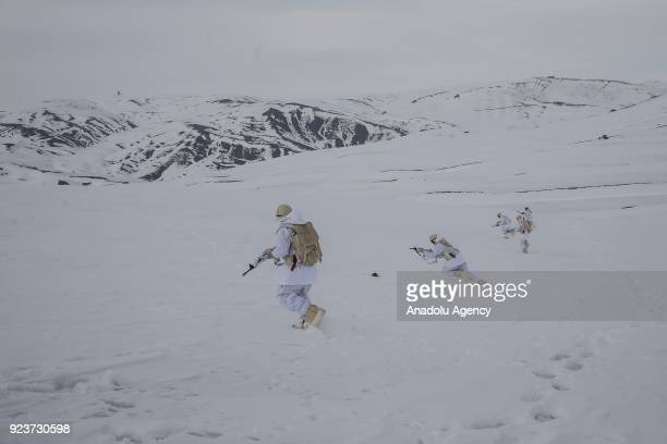 Turkish soldiers are seen during the reconnaissance and surveillance mission in Van Turkey on February 23 2018 Soldiers of Alparslan border post...