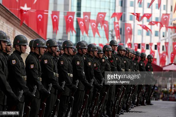 Turkish soldiers attend ceremony at Taksim Republic Monument to mark 94th Anniversary of Turkeys Victory Day in Istanbul, Turkey on August 30, 2016....