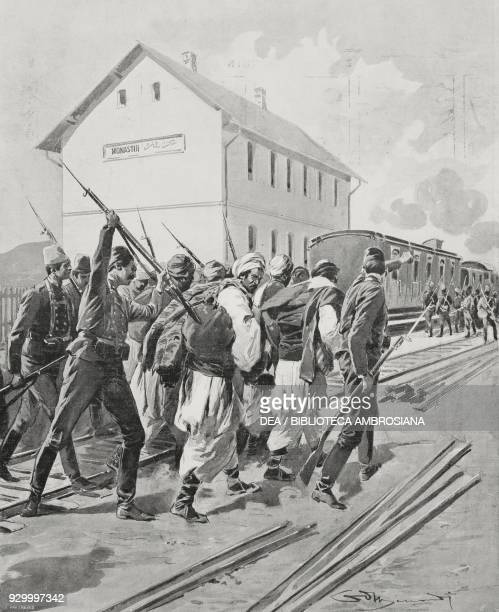 Turkish soldiers leading refugees from the countryside to the Bitola station IlindenPreobrazhenie uprising drawing by A Minardi from L'Illustrazione...