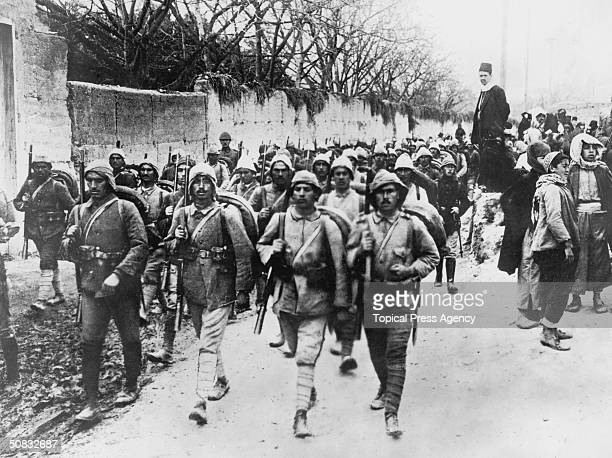 Turkish soldiers on the march near Smyrna during the Turkish war with Greece September 1922