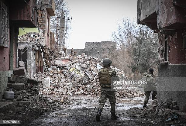 Turkish soldiers patrol at a neighborhood as Turkish Security Forces carry out a counter terrorism operation against terrorist organization PKK in...