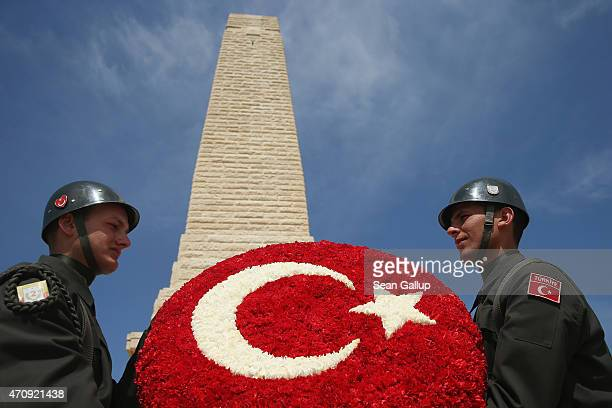 Turkish soldiers rehearse laying a wreath at the Helles Memorial which commemorates Commonwealth soldiers killed in the Gallipoli campaign prior to...