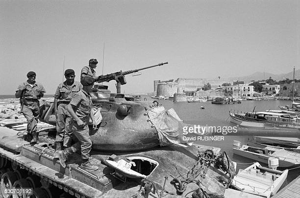 Turkish soldiers stand on a tank outside Farmagusta ten days after they launched their invasion of Cyprus | Location Farmagusta Cyprus
