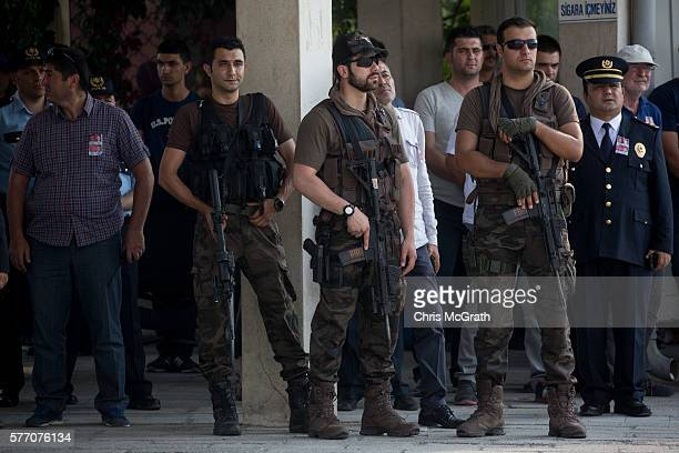 Turkish Special Forces soldiers stand guard at a funeral service held for police officers killed in Friday's failed coup attempt during a funeral...