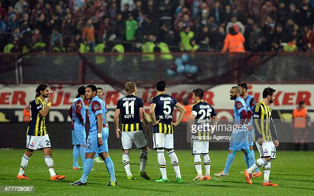 Turkish Spor Toto Super League's football match between Trabzonspor and Fenerbahce at Trabzonspor's home ground Huseyin Avni Aker Stadium was...