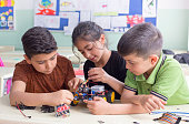 turkish student group are developing the robot in the classrom