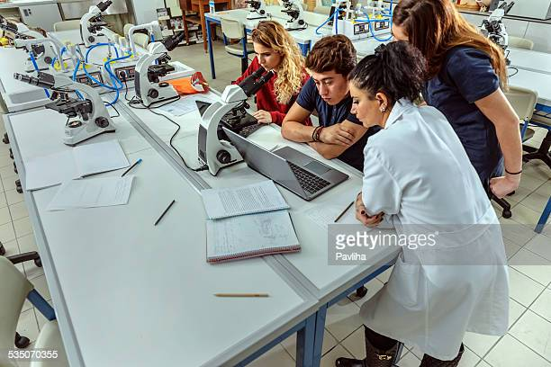 Turkish Students and Teacher in Chemistry Lab Researching, Istanbul