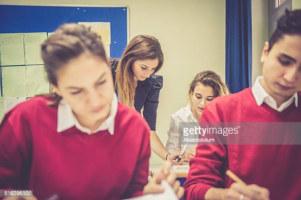 Turkish Students and Teacher Working Together, School, Istanbul