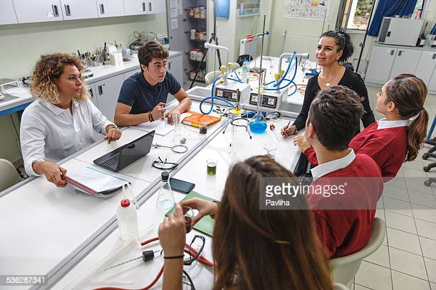 Turkish Students, Teacher, with Protective Glasses , Chemistry Lab, Research,