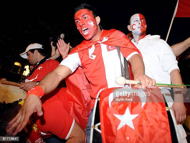 Turkish supporter reacts after the UEFA EURO 2008 semi final match between Germany and Turkey on June 25 2008 in Cologne Germany Germany beat Turkey...