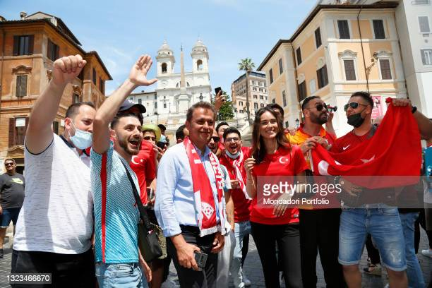 Turkish supporters visiting the Spanish steps in Rome before the first Euro 2020 match, AS Roma - Turkey on June 11, 2021 in Rome, Italy.