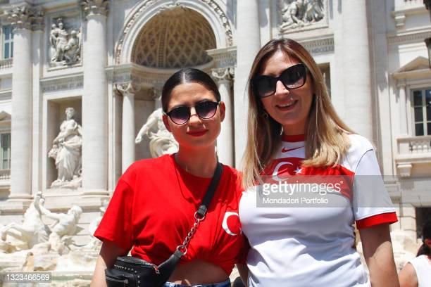 Turkish supporters visiting Trevi Fountain in Rome before the first Euro 2020 match, AS Roma - Turkey on June 11, 2021 in Rome, Italy.