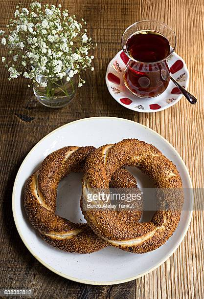 Turkish tea and Turkish simit