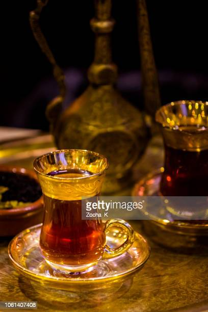 turkish tea - glass and teapot served in traditional style - tradition stock pictures, royalty-free photos & images
