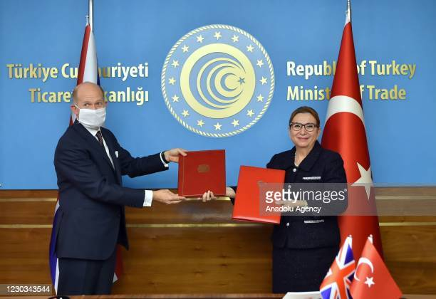 Turkish Trade Minister of Turkey, Ruhsar Pekcan and United Kingdom's Ambassador to Turkey Dominick Chilcott attend the signing ceremony of Free Trade...
