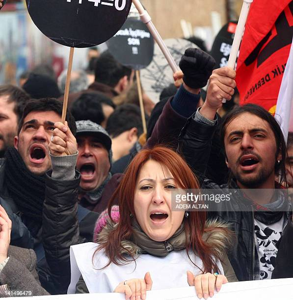 Turkish Trade Union activists stage a protest against protested against the government's education policies in Ankara on March 17 2012 AFP PHOTO/ADEM...