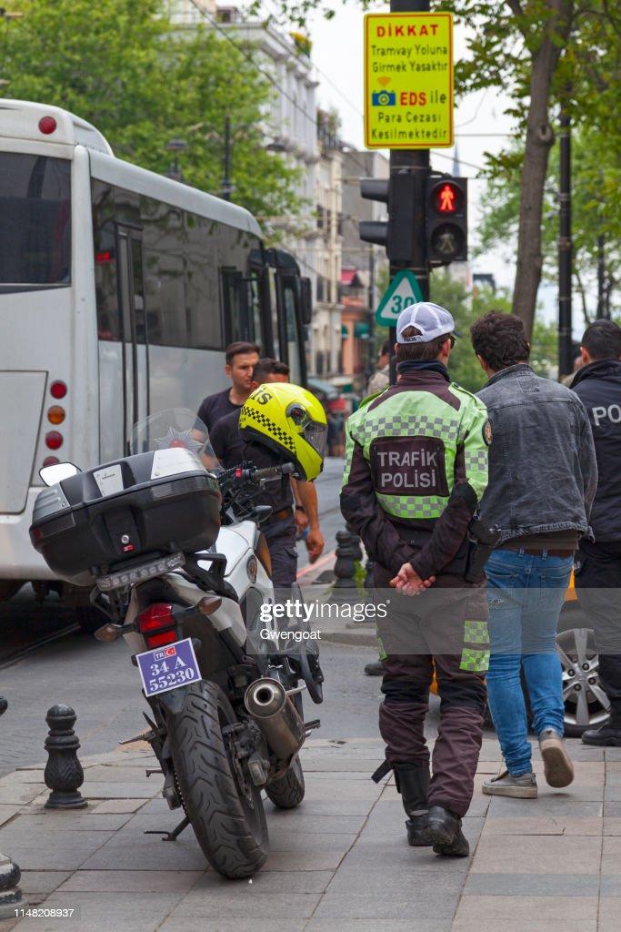 Turkish traffic policeman : Stock Photo