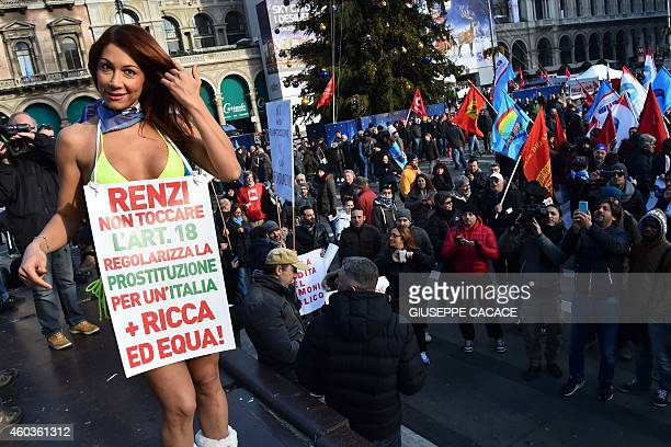 Turkish transgender Efe Bal takes part in a gathering as part of a general strike called by several trade union organisations to protest against the...