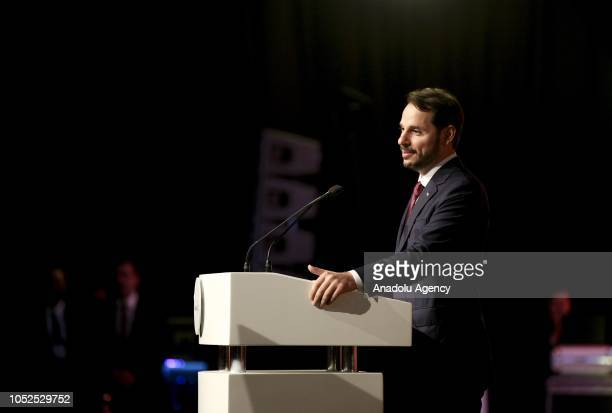 Turkish Treasury and Finance Minister Berat Albayrak delivers a speech during the opening ceremony of the SOCARs STAR Refinery Project in Aliaga...