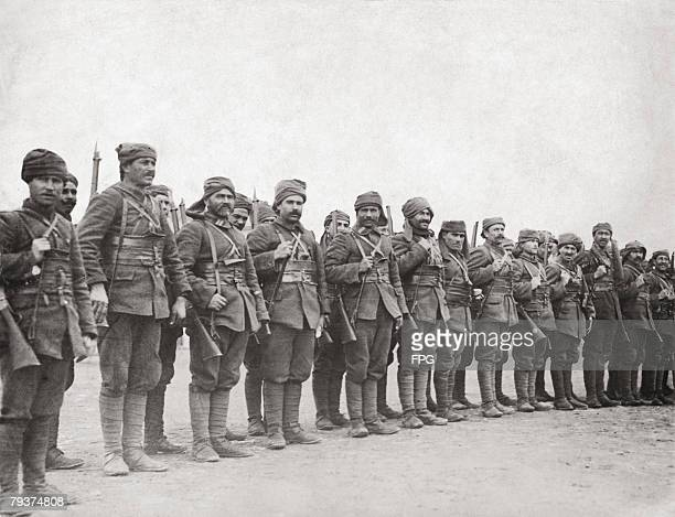 Turkish troops on parade at Gallipoli during World War I circa 1915