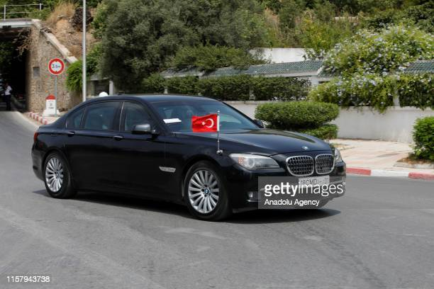 Turkish Vice President Fuat Oktay arrives to attend the funeral of late Tunisian President Beji Caid Essebsi at the Carthage Presidential Palace in...