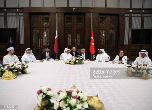 Turkish Vice President Fuat Oktay attends a dinner organized in honor of Qatari Prime Minister Sheikh Abdullah bin Nasser bin Khalifa Al Thani in...