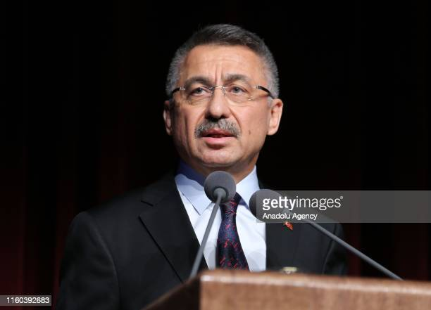 Turkish Vice President Fuat Oktay makes a speech after Turkish Foreign Affairs Minister Mevlut Cavusoglu received Grand Cordon of the Order of Rising...
