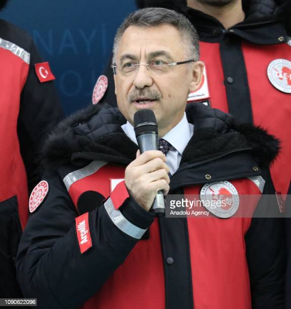 Turkish Vice President Fuat Oktay makes a speech as he gathers with the members of the 3rd National Antarctic Science Expedition, in Sakarya, Turkey...