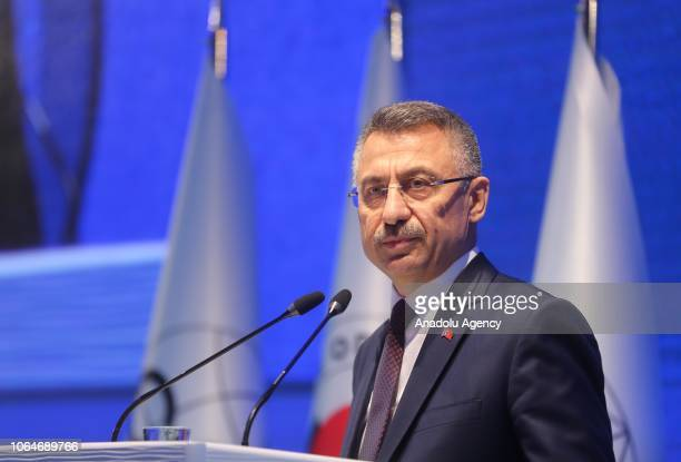 Turkish Vice President Fuat Oktay makes a speech during the 32nd CACCI Conference at the Ciragan Palace in Istanbul, Turkey on November 24, 2018.