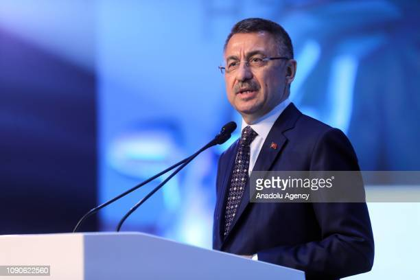 Turkish Vice President Fuat Oktay makes a speech during Toyota's new car launching ceremony in Sakarya, Turkey on January 28, 2019.