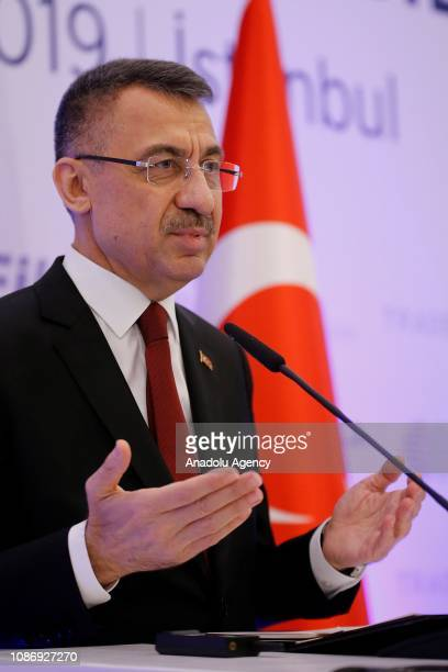 Turkish Vice President Fuat Oktay makes a speech during Turkey-Malta Business Council Meeting in Istanbul, Turkey on January 23, 2019.
