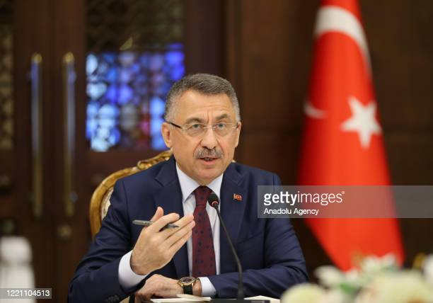 Turkish Vice President Fuat Oktay makes a statement during a meeting in cooperation with the US Chamber of Commerce, the US-Turkey Business Council...