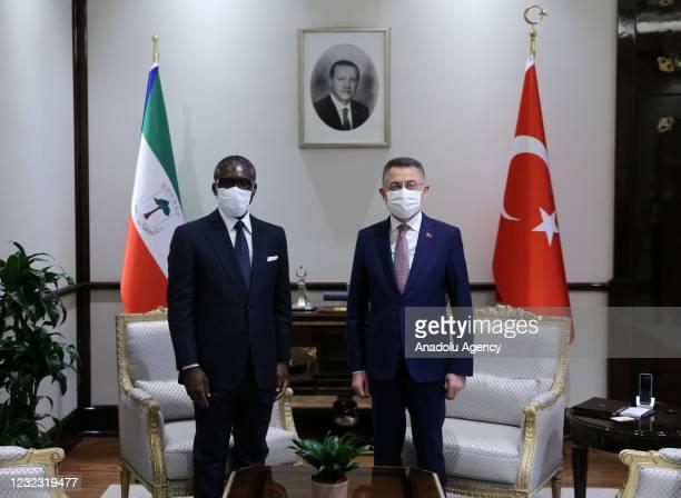 Turkish Vice President Fuat Oktay meets Vice President of Equatorial Guinea, Teodoro Nguema Obiang Mangue in Ankara, Turkey on April 15, 2021.