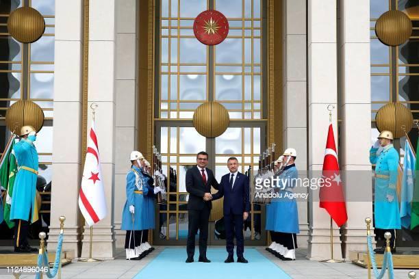 Turkish Vice President Fuat Oktay meets with Turkish Cypriot Prime Minister Tufan Erhurman in Ankara, Turkey on February 14, 2019.