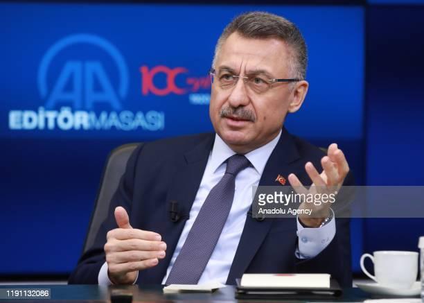 Turkish Vice President Fuat Oktay speaks as he is special guest of Anadolu Agency's Editors Desk in Ankara, Turkey on January 01, 2020.