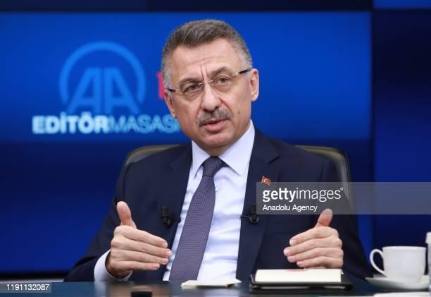 Turkish Vice President Fuat Oktay speaks as he is special guest of Anadolu Agency's Editors Desk in Ankara Turkey on January 01 2020