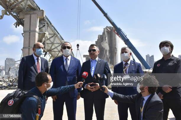Turkish Vice President Fuat Oktay speaks to the press during a visit with Turkish Foreign Minister Mevlut Cavusoglu to receive current information on...