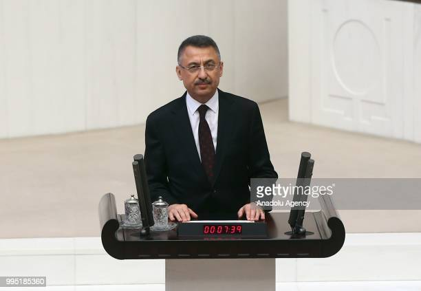 Turkish Vice President Fuat Oktay swears in at the Grand National Assembly of Turkey in Ankara Turkey on July 10 2018