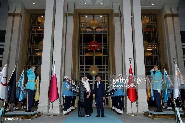 Turkish Vice President Fuat Oktay welcomes Prime Minister of Qatar Sheikh Abdullah bin Nasser bin Khalifa Al Thani at Presidential Complex in Ankara...