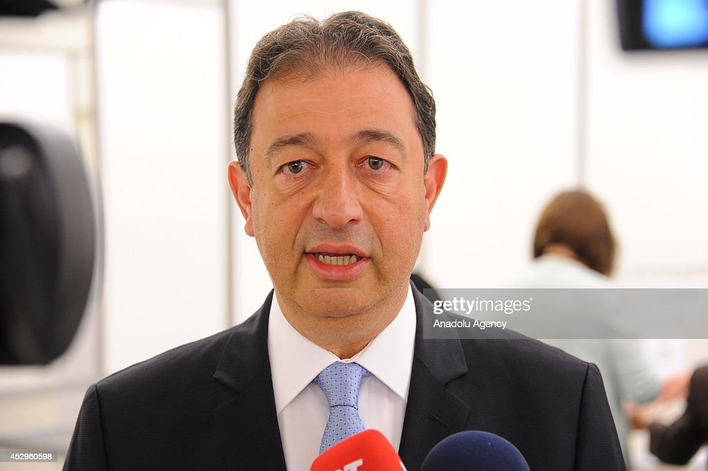 Turkish voters go to polls to cast ballot for Turkish Presidential election Brussels, Belgium on July 31, 2014. The first ballot is started for the presidential election for Turkish people living in abroad. Mehmet Hakan Olcay, Turkey's ambassador to Belgium, speaks to the press.