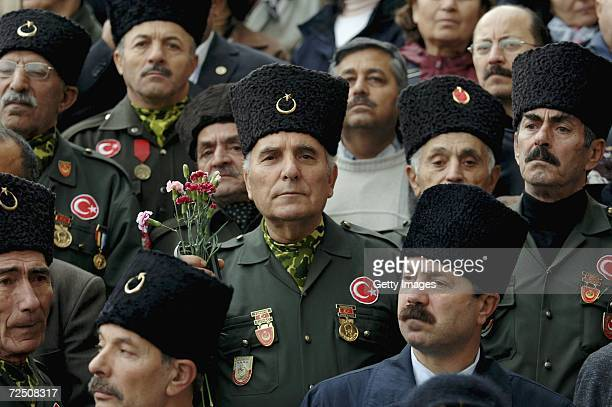 Turkish war veterans attend the funeral ceremony of former Prime Minister Bulent Ecevit in front of Turkish parliament on November 11 2006 in Ankara...
