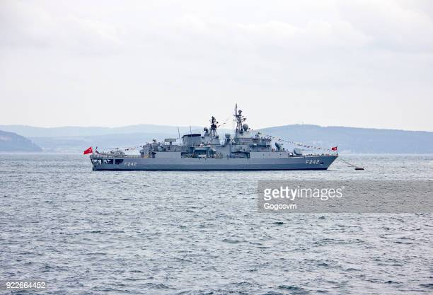 turkish warship - frigate stock photos and pictures