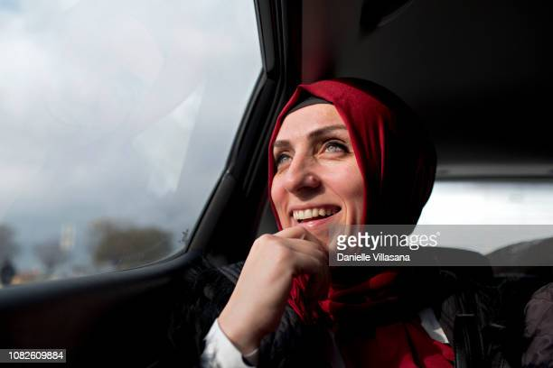 Turkish woman drives in car