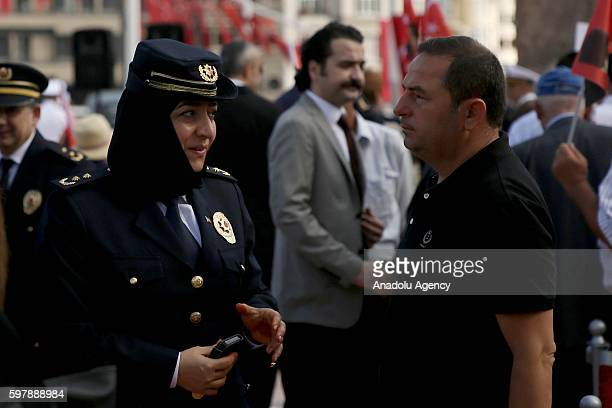 Turkish woman police attends ceremony at Taksim Republic Monument to mark 94th Anniversary of Turkeys Victory Day in Istanbul, Turkey on August 30,...