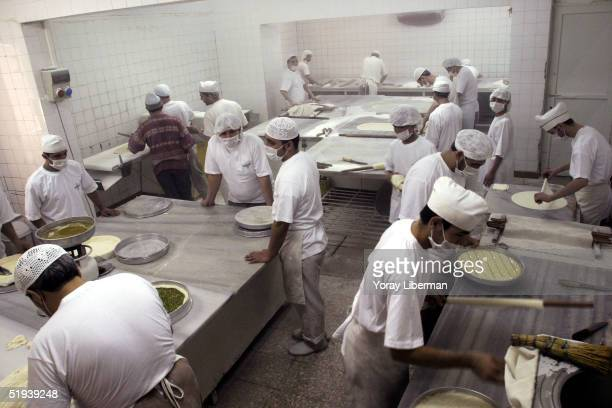 Turkish workers prepare baklava in Imam Cagdas restaurant and baklava production house one of the most prestigious restaurants and baklava producers...